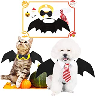 Pet Costume Halloween Xmas Seasonal Suit Kitty Puppy Cool Bat Wing Necktie Bow Tie with Pumpkin Santa Claus Bells for Small Dog Cat Cloth Grooming Apparel