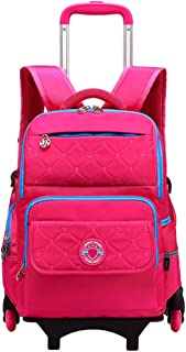 Zhhlinyuan Lighten Trolley Wheeled Backpack - Detachable School Bags Durable Multifunction Travel Handbags for Kids