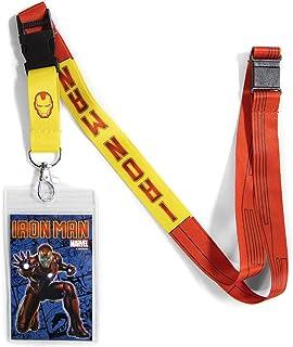 حبل الرجل الحديدي القابل للعكس من اتا بوي مارفيل كوميكس مع مشبك منفصل وحامل لبطاقة الهوية.