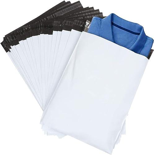 ilauke 60pcs Sacs d'expédition Plastique Sac de Courrier Pochettes Enveloppes Postales Couleur Blanc 30 * 40cm+5cm de...