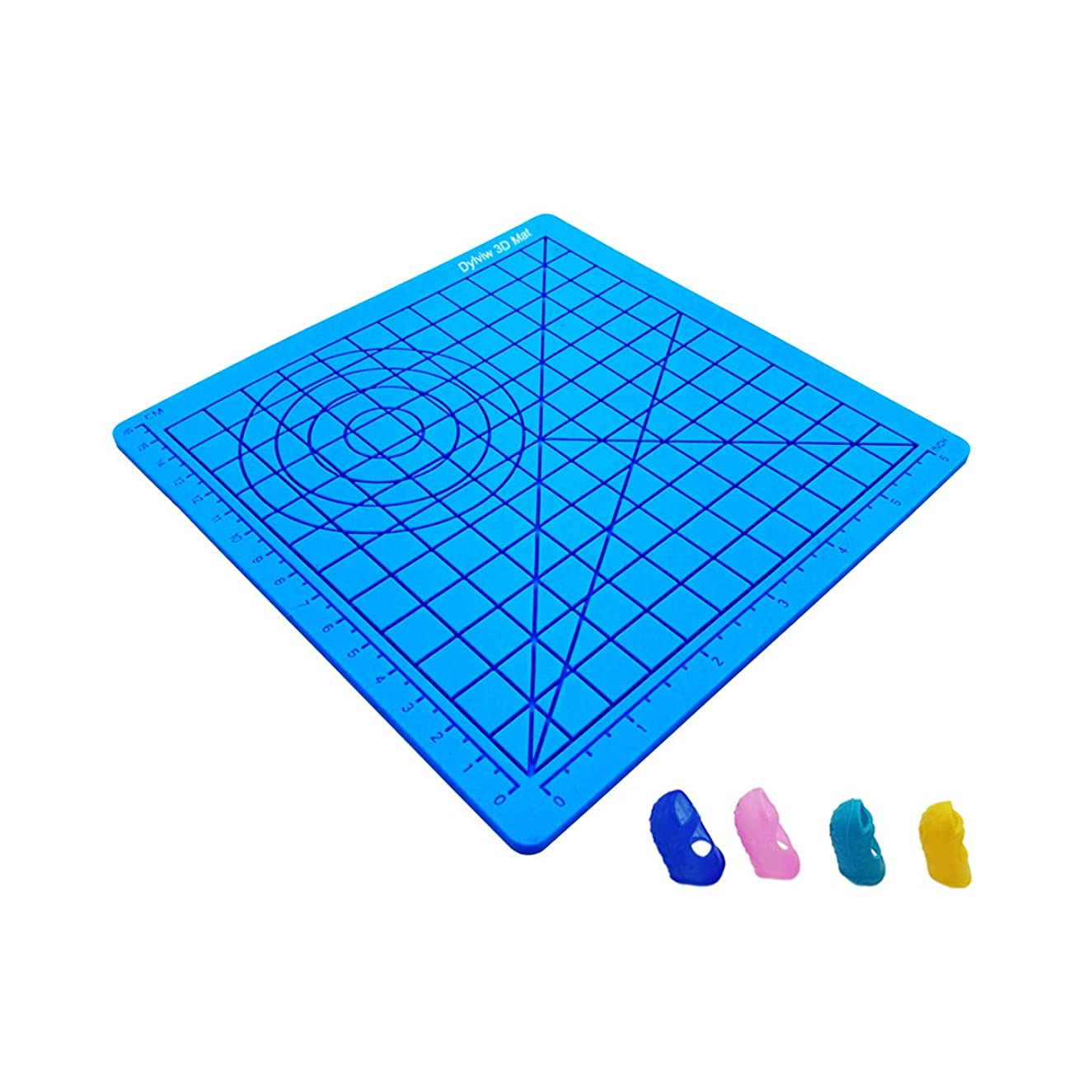 Multi-Purpose 3D Printing Design Silicone Mat Drawing Templates and Stencils for 3D Printing Pen, Perfect 3D Pen Drawing Tools with 4pcs Silicone Finger Protector Caps