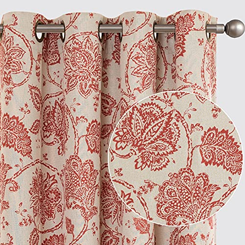 jinchan Floral Scroll Printed Linen Textured Curtains Grommet Top Ikat Flax Textured Medallion Design Jacobean Room Darkening Curtains Retro Living Room Window Covering Terra Red 84 Inch 2 Panels