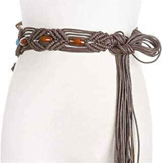 MYCHOMEUU Ladies Wax Rope Woven Alloy Accessories Handmade National Wind Waist Chain with Dress Long Skirt (Color : Coffee, Size : 100-135CM)