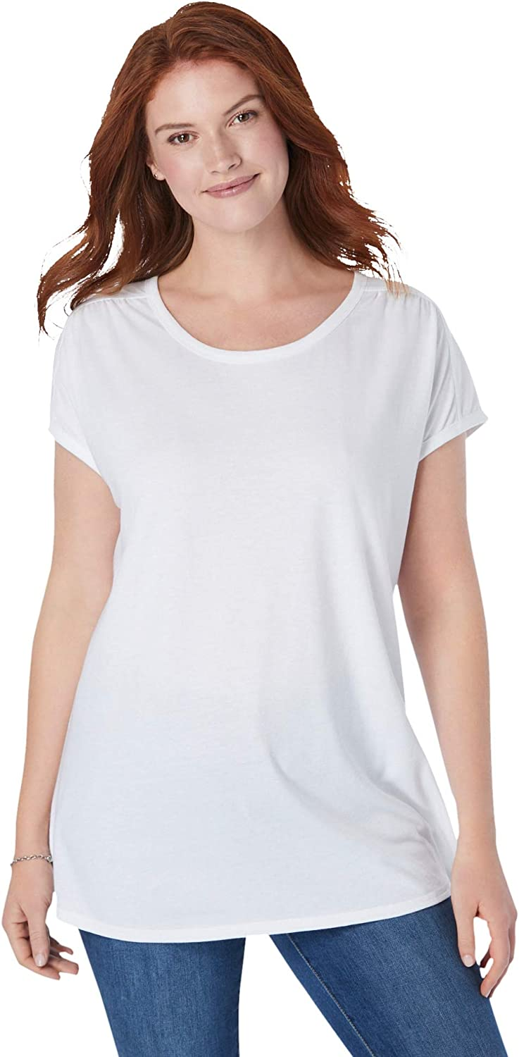 Woman Within Great interest Women's lowest price Plus Shirt Size Tee Cap-Sleeve