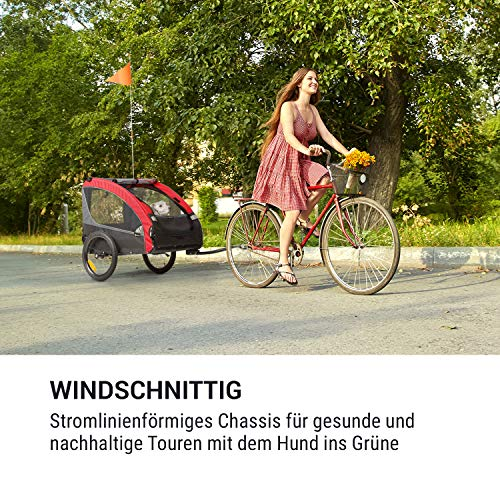 Klarfit Husky Race Fahrrad-Hundeanhänger,ca. 282 Liter Volumen,Material: 600D Oxford Canvas mit wasserdichter PVC-Beschichtung,SmartSpace Concept: faltbar, Farbe: rot/grau