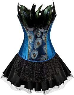 Steampunk Corset Dress for Women Bustier Lingerie Skirt Set Gothic Pirate Outfits Costume Halloween