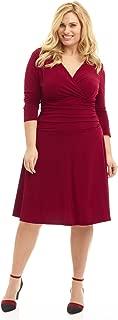 Curvy Fit Plus Size Women's Slimming 3/4 Sleeve Tummy Control Dress