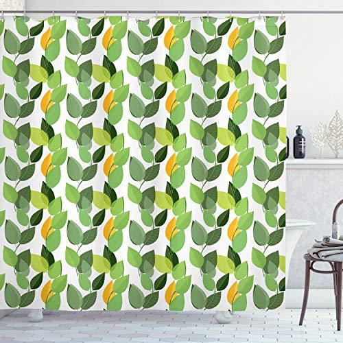 ABAKUHAUS Hojas Cortina de Baño, Madre Naturaleza follaje, Material Resistente al Agua Durable Estampa Digital, 175 x 200 cm, Helecho Verde Marigold