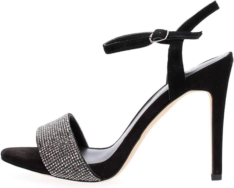 Cafè schwarz KNB525 Sandal mit Strass Heel Heel Heel 105 mm Wildleder  9134ae