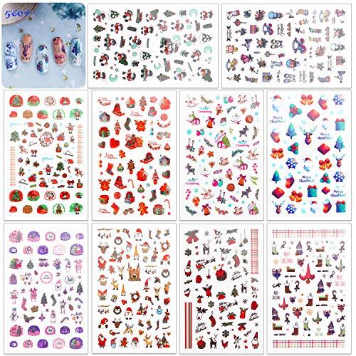 HOWAF 560+ pcs Navidad Nail Art Stickers Calcomanías, Navidad 3D Uñas Art Pegatinas Autoadhesiva Decorativas para...