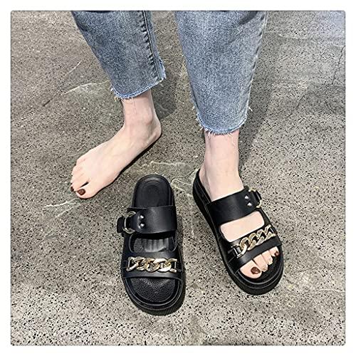 NJZYB Zapatos De Plataforma con Cadena De Metal, Zapatillas De Mujer, Deslizamiento En Los Toboganes con Punta Abierta, Sandalias De Mujer, Sandalias De Playa Informales (Color : Black, Size : 39)