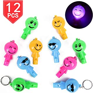 PROLOSO LED Light Up Whistle Smiley Face Keychains with Hooks Plastic Key Rings Backpack Accesories for Gifts Prizes Party Favors