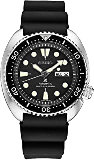 Seiko Men's Automatic Diver Watch with Black Silicone Strap