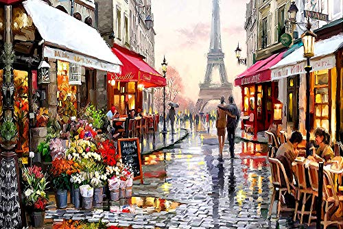 Puzzle 300 Piezas Infantil Rompecabezas Paris Tower Street Juegos Rompecabezas para Adultos Paisajes Puzzle Regalo Cumpleaños