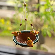 ExclusiveLane Terracotta Handpainted Home Decorative Wall Hanging Cum Garden Decorative Bird Feeder