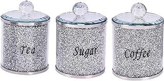 RUIYELE Lot de 3 boîtes de rangement de cuisine remplies de cristaux écrasés et de diamants, garnitures argentées, pour th...
