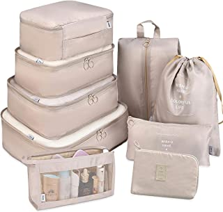 Packing Cubes for Travel, 9 Set Luggage Organizers with Shoe Bag, Electronics Bag, Cosmetics Bag, Compression Cells, Accessories Bags Made With Wearable Waterproof Fabric (9 PCS - Beige)