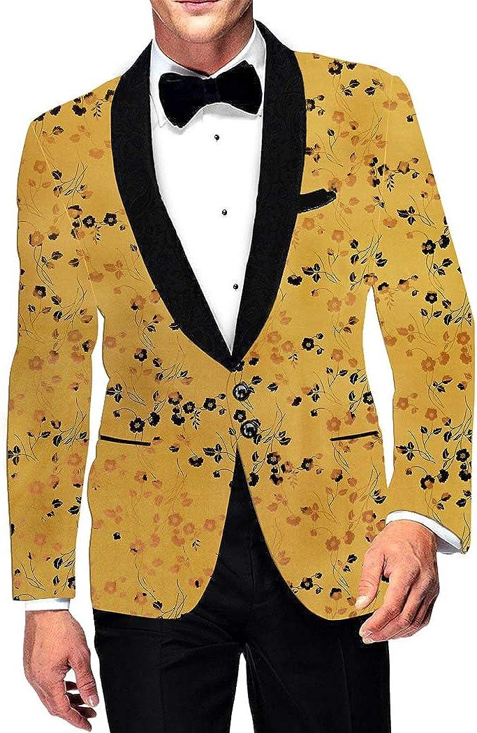 INMONARCH Mens Two Button Slim fit Blazer Shawl Collar Printed Polyester Suede Marigold Sport Jacket Coat SB19383R50 50 Regular Marigold