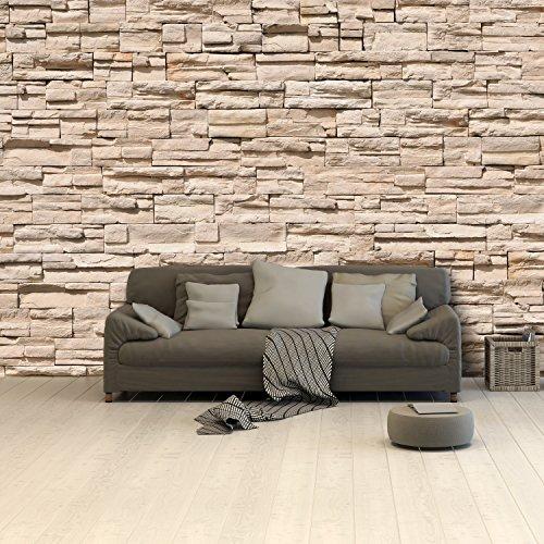 murimage Papel Pintado Piedras 3D 366 x 254 cm Incluyendo Pegamento Foto Mural Alquería Arenisca Oficina Sala Living
