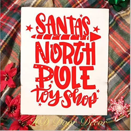 Ad4ssdu4 Kerstmis hout Teken Santas speelgoed Shop signchristmas rustieke signwinter ijs skate signfarmhouse kerst teken hand geschilderd noord-pole teken