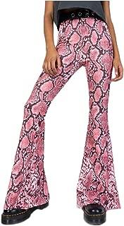 Womens Snakeskin Printed Flare Bell Bottom Pants Hippie Wide Leg Skinny Long Pants High Waist Trousers