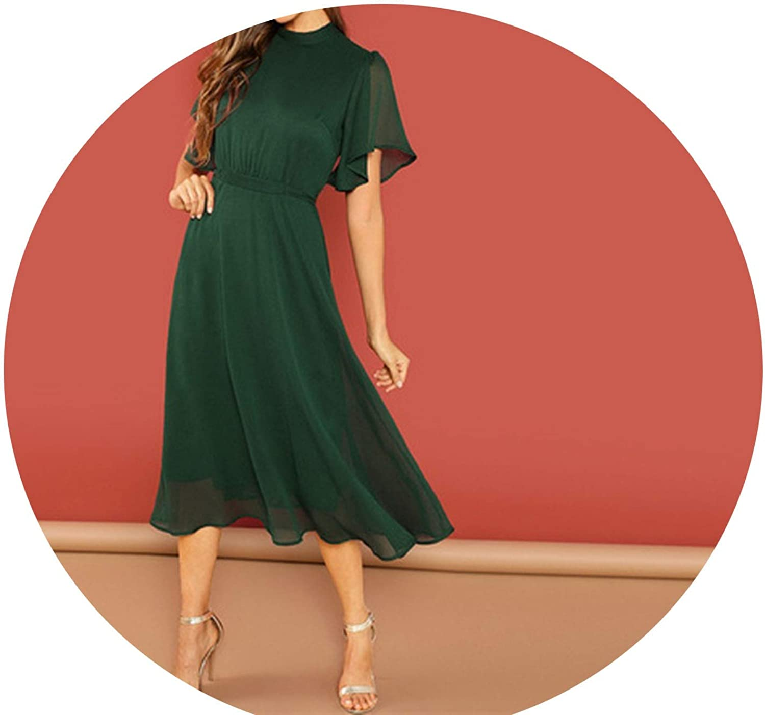 colorfulspace Weekend Casual Green Flutter Sleeve Short Sleeve Split Tie Back Solid Stand Collar Dress,Green,XS