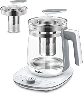ICOOKPOT Multi-Use Electric Kettle Borosilicate Glass Tea Maker and Programmable Control Panel Base, Includes Filter, Egg Cooker and Yogurt Box, Keep Warm Function Water Pot Kettle, White