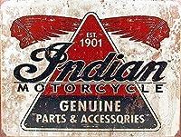 ノベルティブリキ看板、インドモーターサイクル1901ヴィンテージ男洞窟ガレージサインバーの署名金属壁錫サイン壁アートシンボルポインターデカール金属標識
