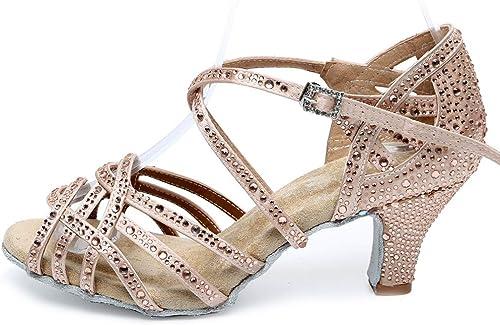 Strass Satin Latin Salsa Tango Sandales Morden Femmes Ballroom Party Chaussures de Danse