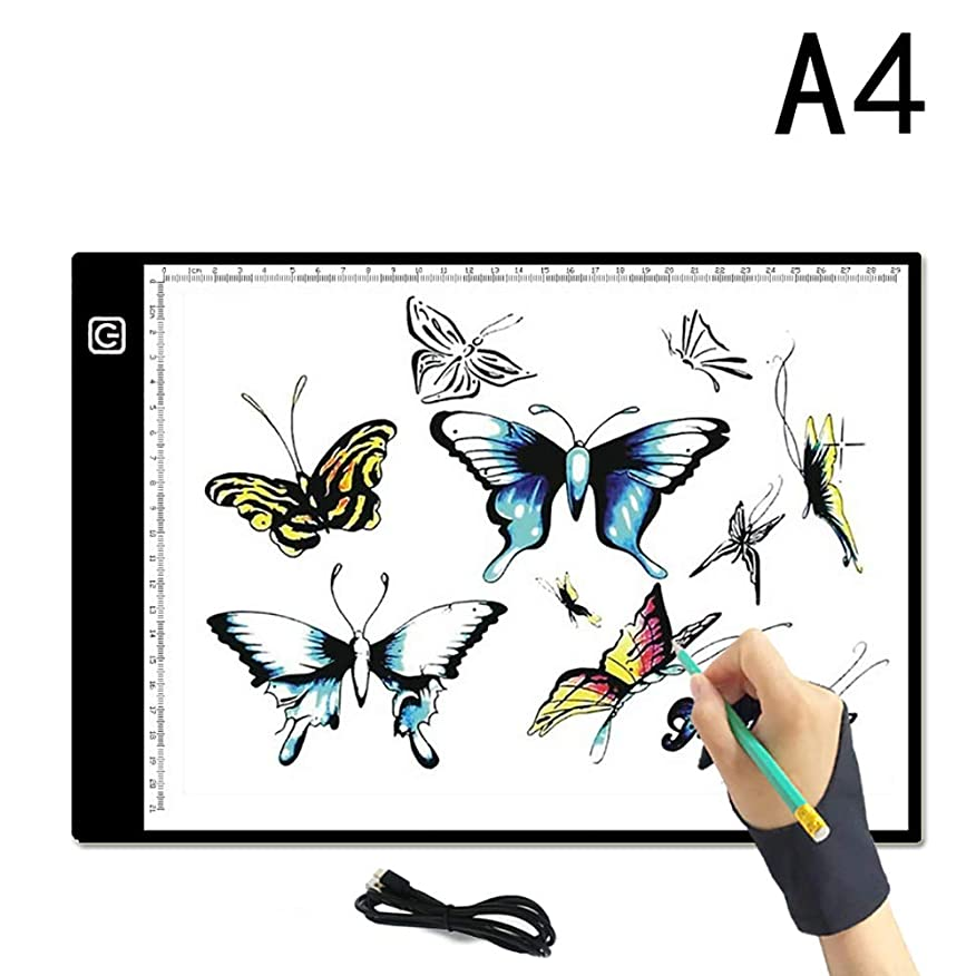 A4 Light Box, FOME Ultra-Thin A4 Tracing Light Box USB Power Adjustable Brightness LED Drawing Board Tracing Pad Artcraft Tracing Light Pad for Artists Drawing Sketching Animation Stenciling zovyrjdimqp874
