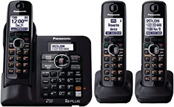 Panasonic KX-TG6643B DECT 6.0 Cordless Phone with Answering System - 3 Handsets - Black photo