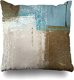 Decorativepillows Case Throw Pillows Covers for Couch/Bed 18 x 18 inch, Blue Brown Abstract Art Painting Home Sofa Cushion Cover Pillowcase Gift Bed Car Living Home