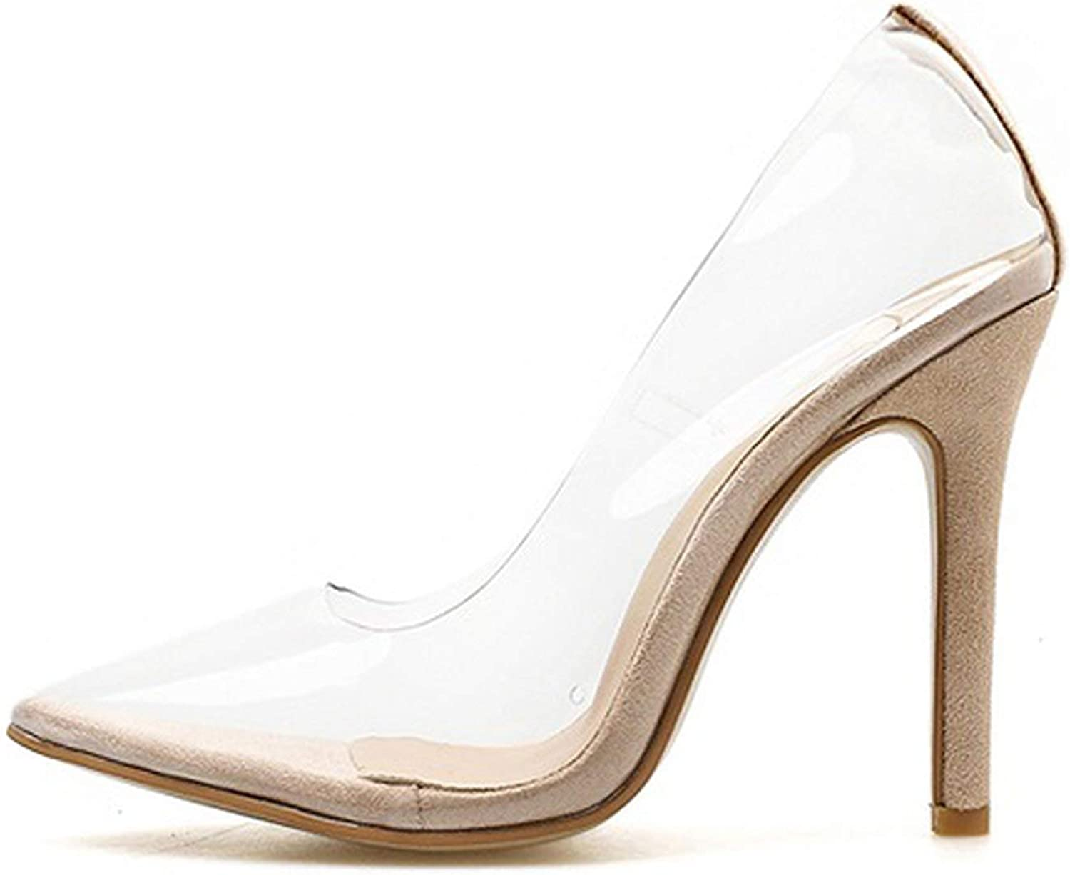 Clear PVC Transparent Pumps Sandals Perspex Heel Stilettos High Heels Point Toes Womens Party shoes Nightclub Pump 35-42,apricot1,4