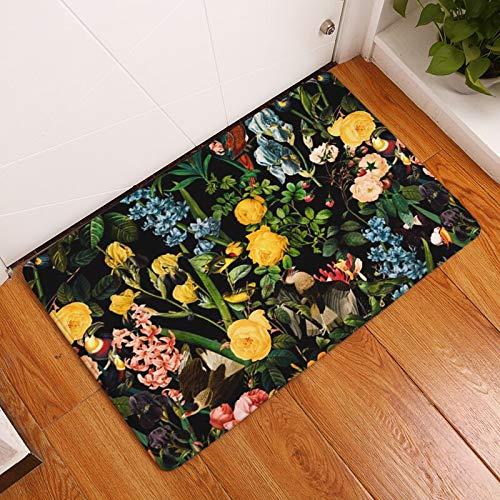 OPLJ Alfombra de Entrada con Estampado de Flores Alfombra de baño Antideslizante Decorativa Alfombra Absorbente para Piso de Cocina Decoración Pasillo Alfombra al Aire Libre A11 40x60cm