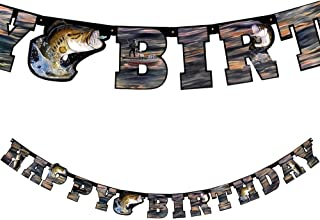 Gone Fishin' Happy Birthday Banner, 7-Inch Letters, 7.75-Foot Banner, Gone Fishin' Party Collection by Havercamp