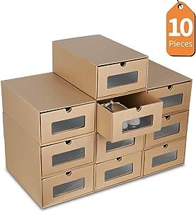 LENTIA Boîte à Chaussure avec tiroir, Boîte de Rangement en Carton Ondulé de Haut Qualité, 35 * 23.5 * 13.5cm