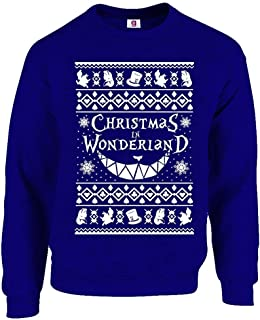Graphic Impact Inspired Alice and in Cheshire and Cat Ugly Wonderland Christmas Xmas Sweater Jumper