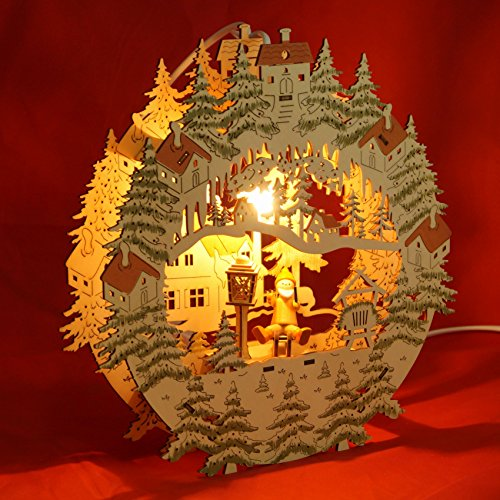 Wichtelstube-Kollektion Fensterbild beleuchtet Weihnachtsmann auf Schlitten Original Vogtland Souvenir