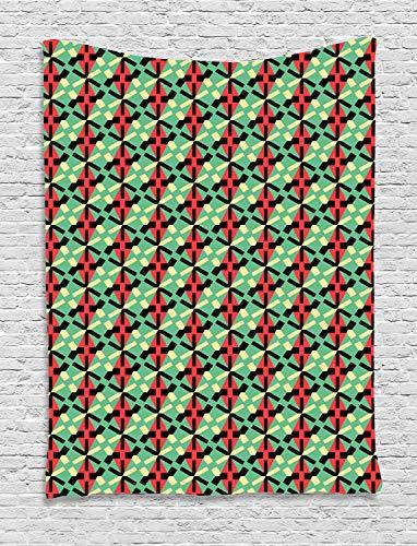 ABAKUHAUS Geométrico Tapiz de Pared, Rombos Y Líneas Discontinuas, para el Dormitorio Apto Lavadora y Secadora Estampado Digital, 100 x 150 cm, Multicolor
