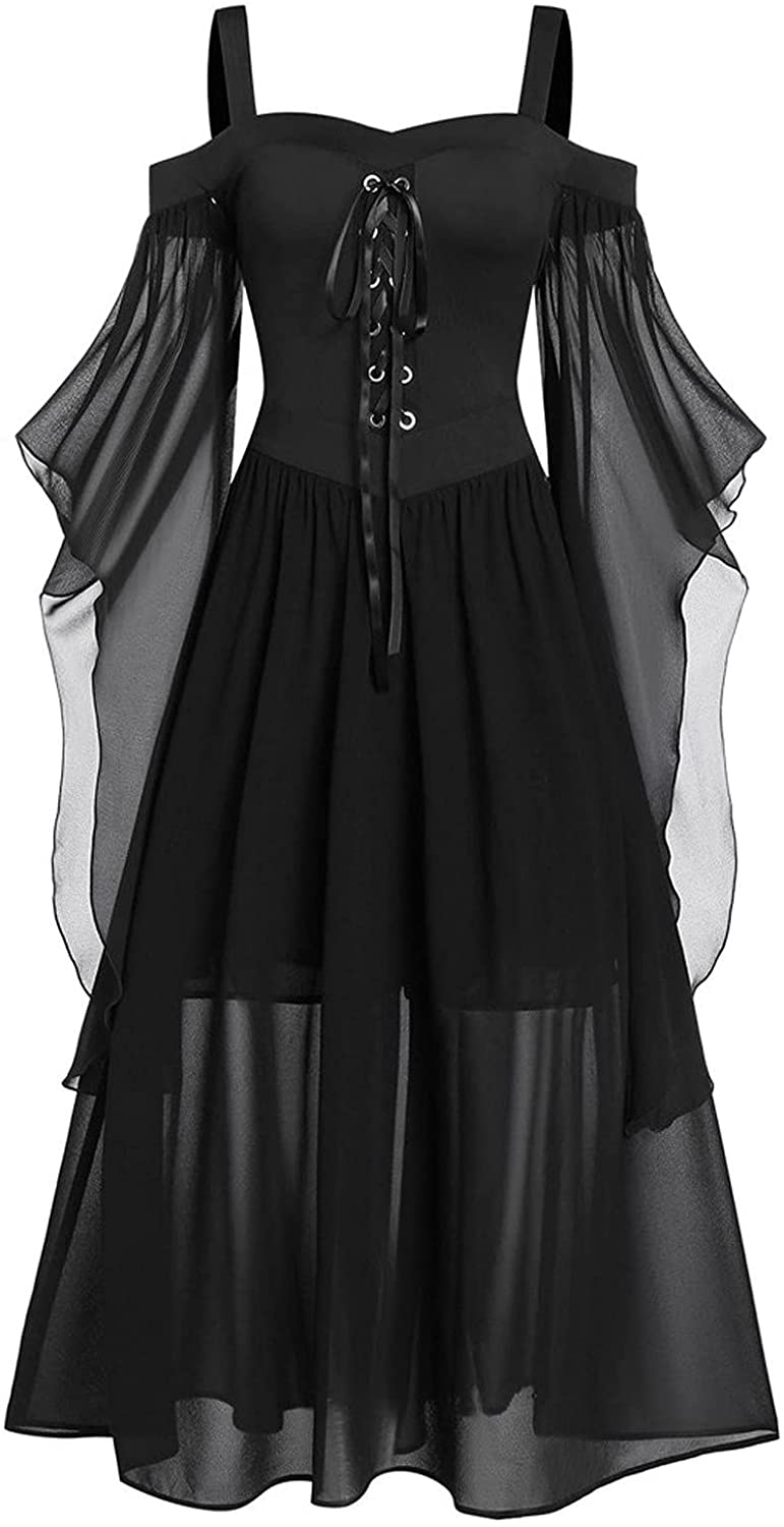 ovticza Plus Size Womens Gothic Dress Sleeveless Ruffles Goth Mesh Summer Fashion Halloween Cocktail Party Dresses