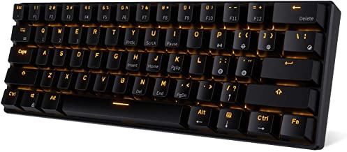 RK ROYAL KLUDGE RK61 Wireless 60% Mechanical Gaming Keyboard, Ultra-compact Bluetooth Keyboard with Tactile Blue Switches, Compatible for Multi-device Connection, Black