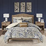 Hampton Hill Urban Chic King Size Bed Comforter Duvet 2-In-1 Set Bed In A Bag - Navy Gold , Paisley – 9 Piece Bedding...