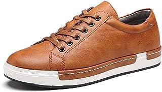 Homme Baskets à Lacets Casual Basses Chaussures en Cuir Travail Business Sneakers Sport Noir Marron Gris Jaune 38-48