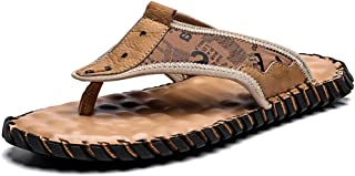 COSIDRAM Men's Leather Sandals Summer Fashion Luxury Flip Flops Casual Slippers Flat Beach Shoes for Adult Male Indoor Out...