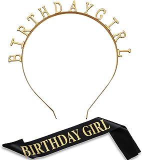 Best Birthday Headpiece Girl Tiara Headband Birthday Satin Sash for Party Decorations Supplies Reviews