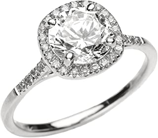 Dainty 10k White Gold Halo Diamond and White Topaz Centerstone Engagement Proposal Ring