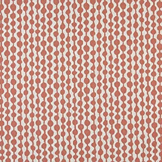 Designer Fabrics K0010C 54 in. Wide Persimmon And Off White44; Circle Striped44; Designer Quality Upholstery Fabric