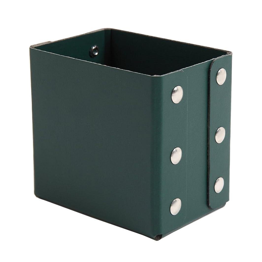 ジョージエリオットドアミラー考えたGlassMarble 筆立て ブラシスタンド 角型 メイク ネイル スタンド 鉛筆立て ペンスタンド ファイバー素材 日本製 緑