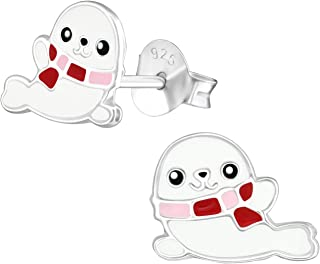 PTN Cute White Seal Studs Earrings Stering Silver Nickle Free (E36570)