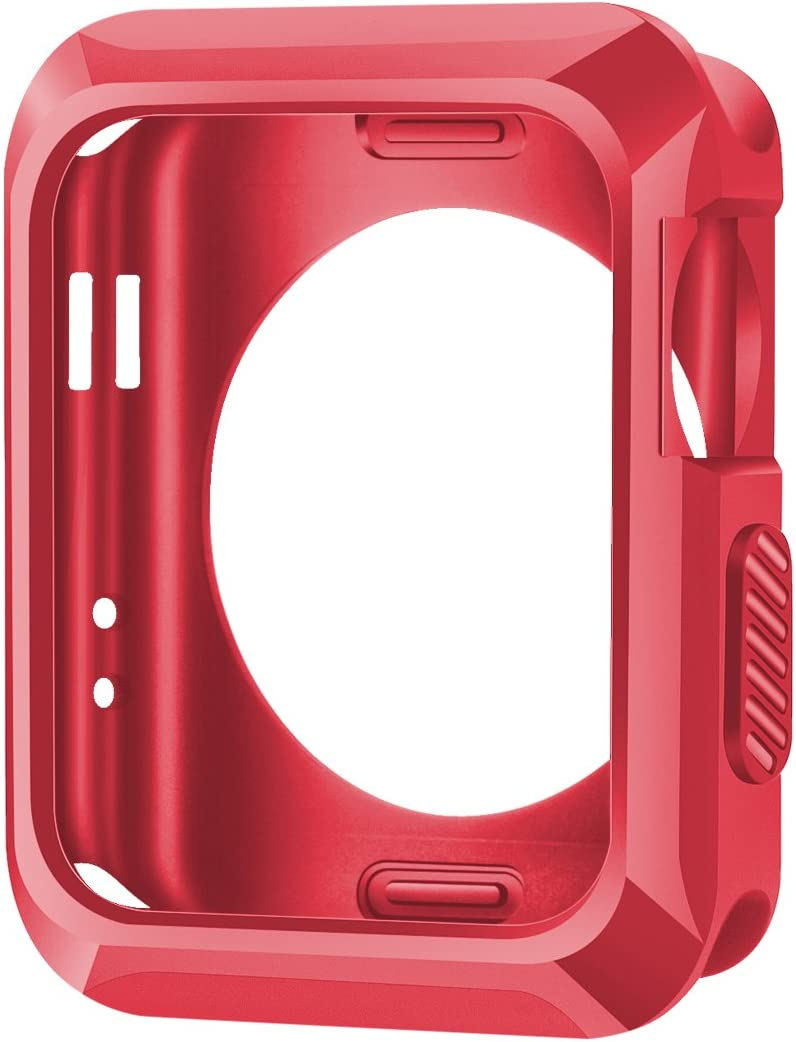 iiteeology Compatible with Apple Watch Case, 38mm Universal Slim Rugged Protective TPU iWatch Case for Apple Watch Series 3 Series 2 Series 1 - Matte Red